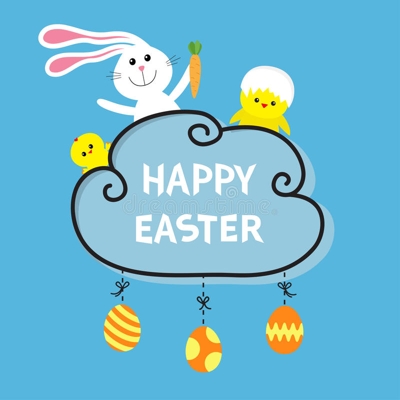 Happy Easter. Rabbit hare bunny and carrot, baby chicken shell. Cloud frame. Hanging painted eggs. Dash line with bows. Greeting c stock illustration