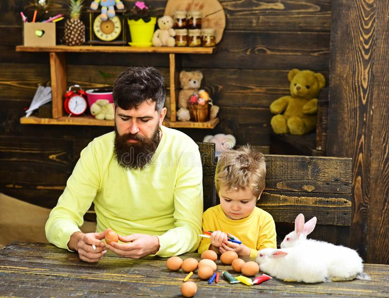 Happy easter! Rabbit`s family with bunny ears. stock image