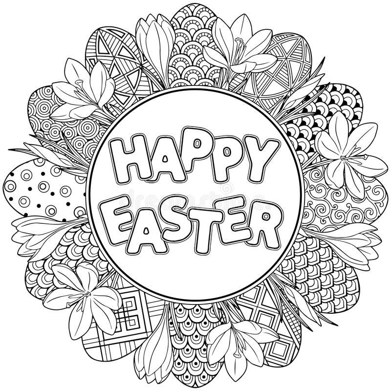 Happy Easter. Round frame of Black and White Doodle Easter Eggs and crocuses Coloring book for adults for relax and meditation. Ve vector illustration