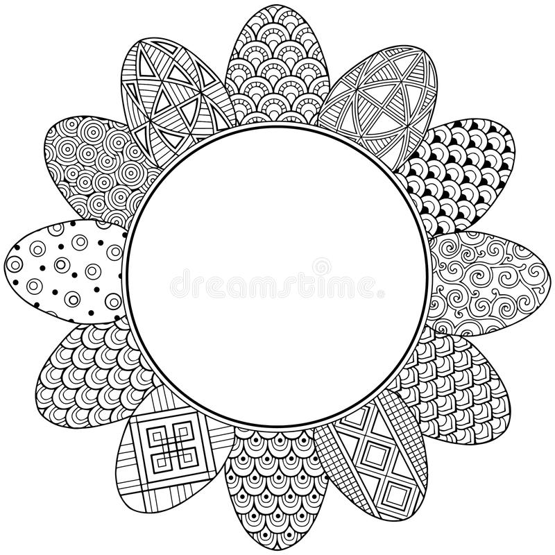 Happy easter. Round Vignette of Black and White Doodle Easter Eggs. Coloring book for adults for relax and meditation. Vector isol vector illustration