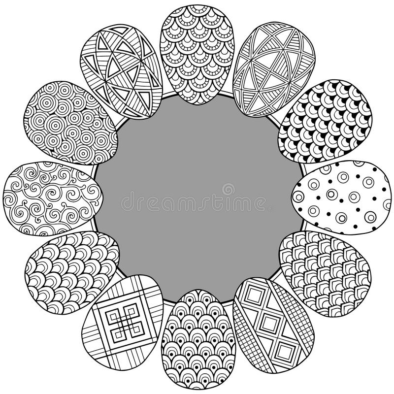 Happy easter. Round Vignette of Black and White Doodle Easter Eggs. Coloring book for adults for relax and meditation. vector illustration
