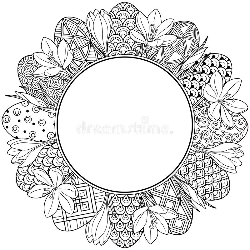 Happy easter. Round Vignette of Black and White Doodle Easter Eggs and Crocuses. Coloring book for adults for relax and meditation royalty free illustration
