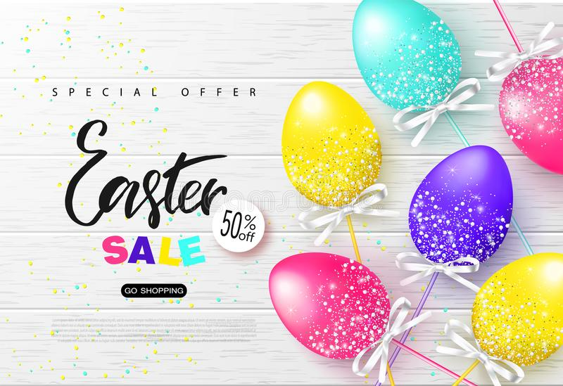 Happy Easter sale banner.Background with beautiful colorful eggs on wooden texture. Vector illustration for posters, coupons, prom royalty free illustration