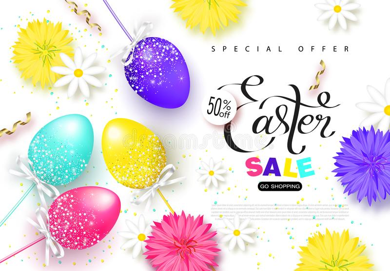 Happy easter sale bannerckground with beautiful eggsflowers and happy easter sale bannerckground with beautiful eggsflowers and serpentine vector illustration for posters coupons promotional material negle Image collections