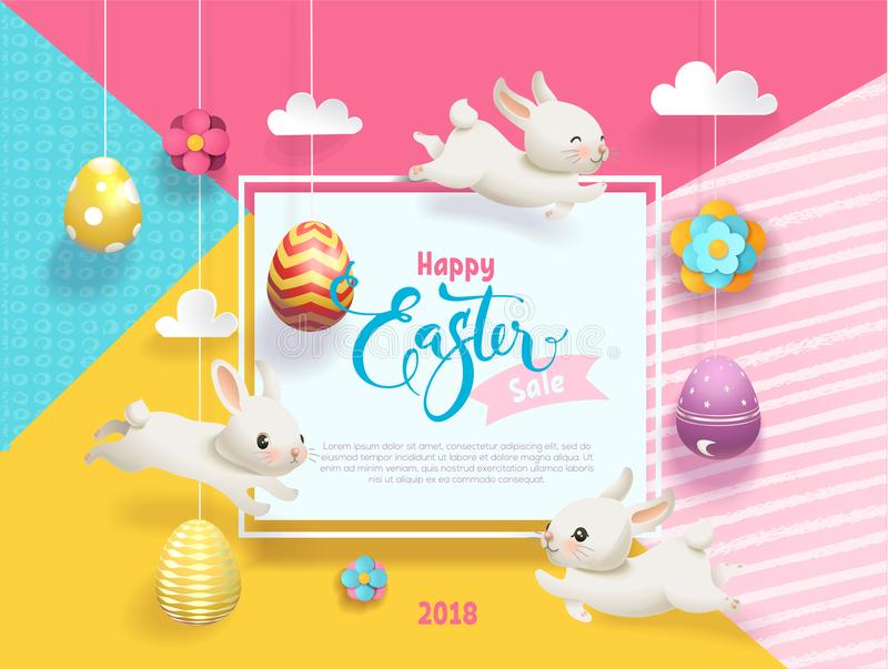 Happy Easter Sale card decorated eggs hanging on strings abstract background, funny little bunnies, square frame and royalty free illustration
