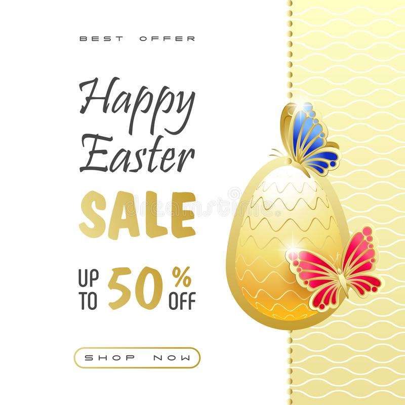 Happy Easter Sale. Elegant banner, flyer with golden butterflies, Easter egg and sales text. stock illustration