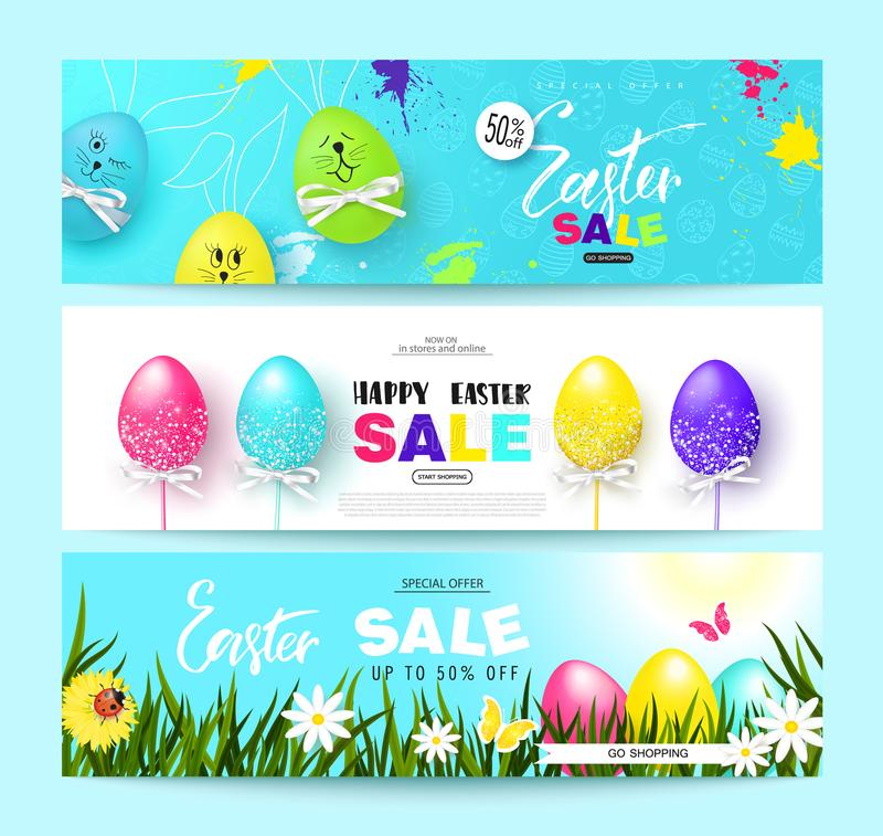 Happy Easter Sale Horizontal Banners Set with colorful eggs. Vector Illustration. Season sale. Concept for web banners and promoti stock illustration