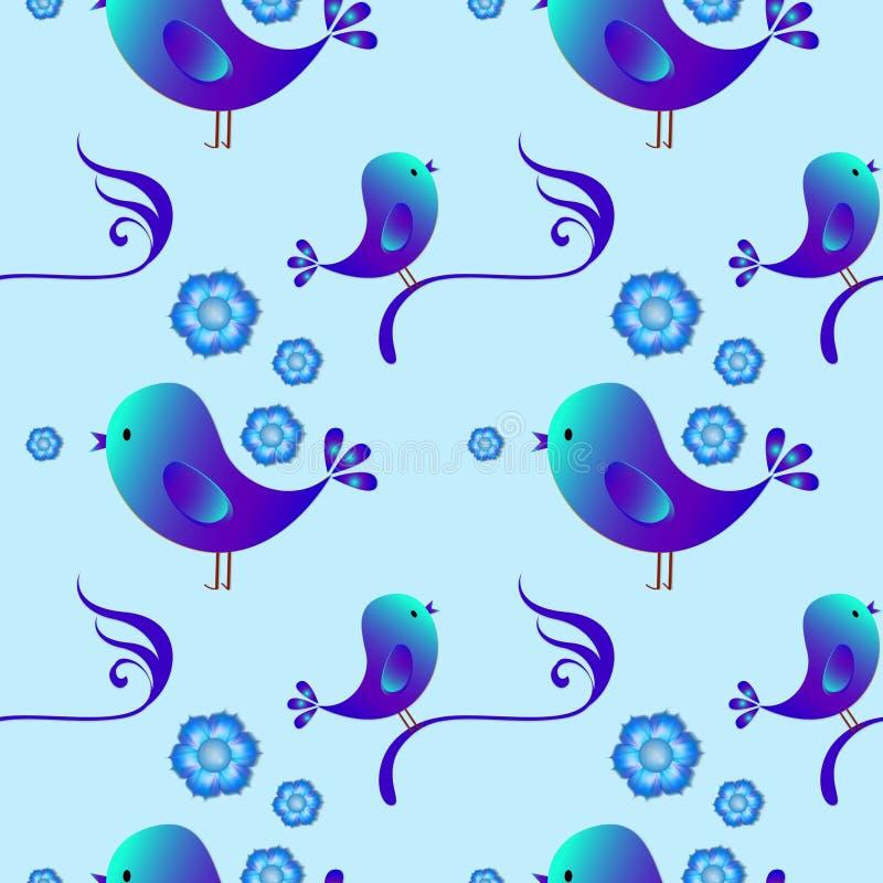 Regular seamless pattern with birds. Blue color. Happy Easter. Seamless pattern with birds. Childish illustration in cartoon style stock illustration