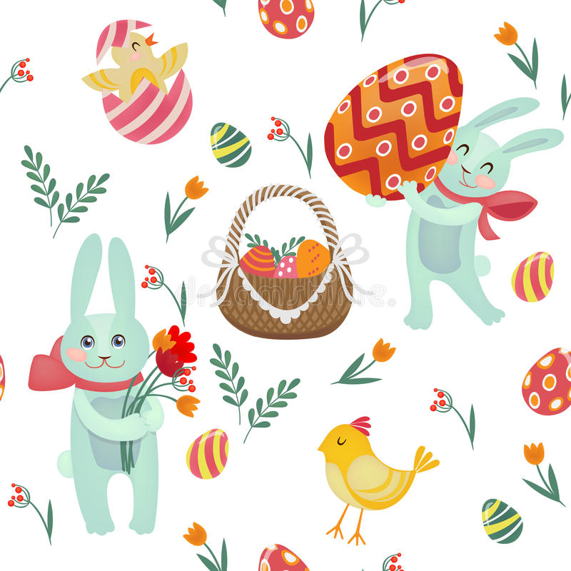 Happy Easter Seamless Pattern with Bunnies, Chicks, Eggs. And Flowers. Vector background royalty free illustration