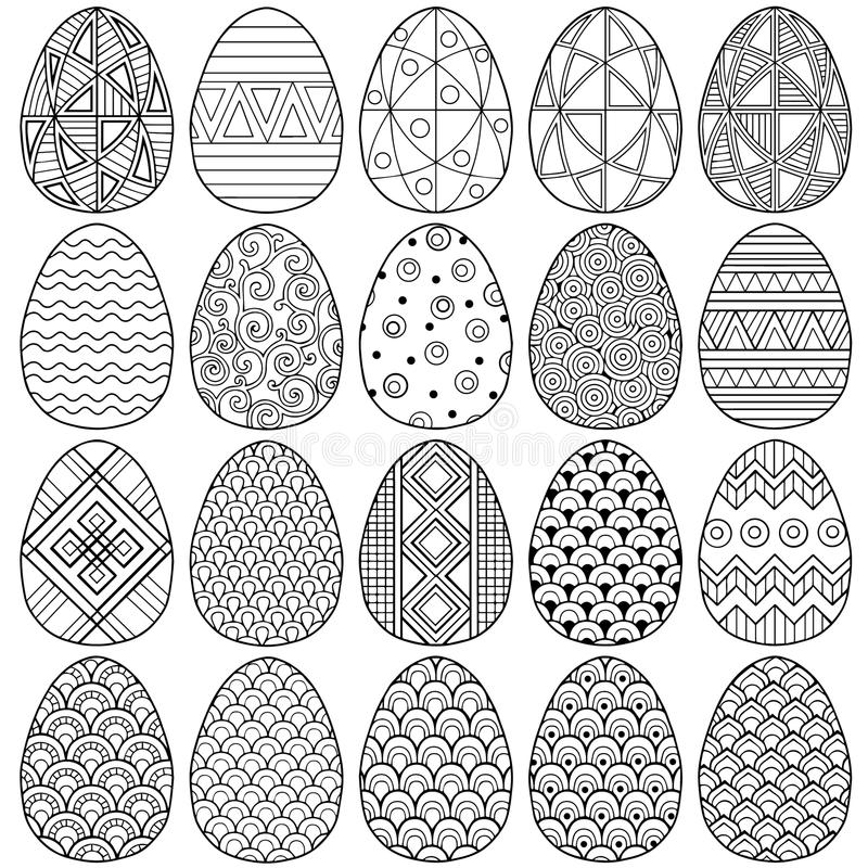 Happy easter. Set of Black and white Doodle Easter eggs. Coloring book for adults for relaxation and meditation. Vector isolated E royalty free illustration