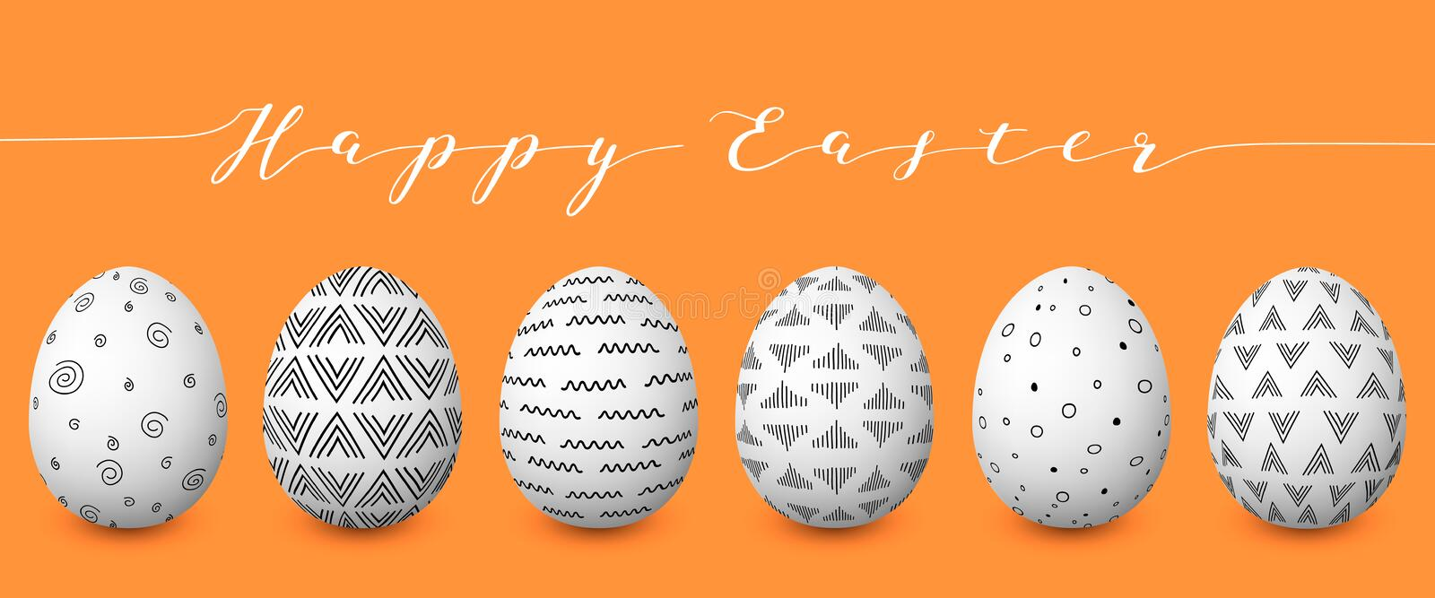 Happy Easter. Set of colorful Easter eggs with different simple textures on golden background. royalty free illustration