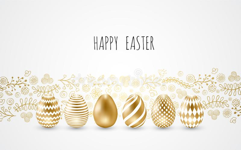 Happy Easter.Set of Easter eggs with different texture on a white background. vector illustration