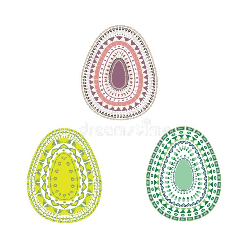 Happy Easter. Set of Easter eggs with different texture on a white background. Spring holiday. royalty free illustration