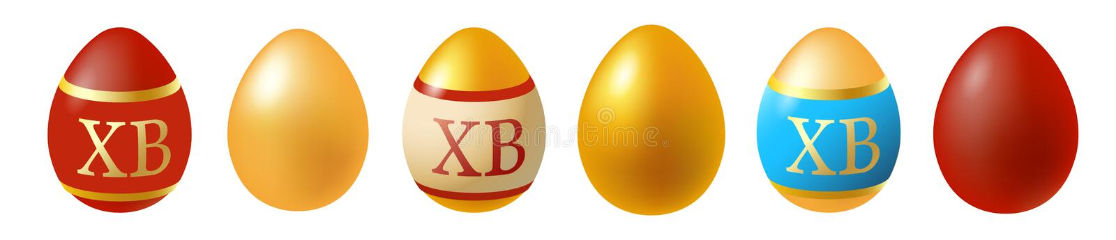 Happy Easter. Set of Easter eggs. Spring holiday. Vector illustration of Easter eggs collection on a white background. Vector illustration of Easter eggs royalty free illustration