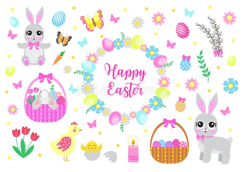 Happy Easter set objects, design elements. Spring collection with cute bunnies, flowers and Easter eggs. Vector stock illustration