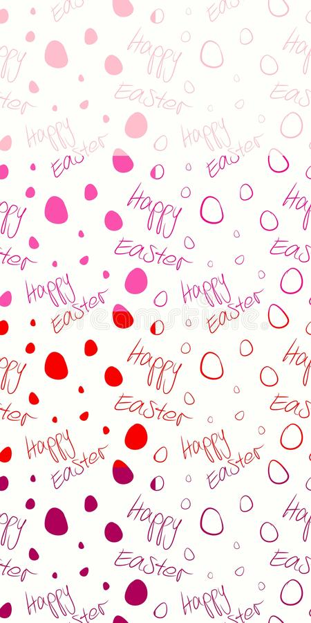 Happy Easter - Set of 8 seamless and tileable vector background patterns. Magenta, red, pink, light pink on white. stock image