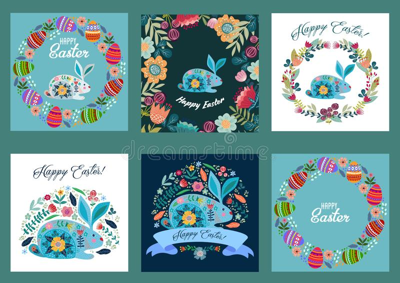 Happy Easter. Set of templates for cards and banners with cartoon flat cute eggs, rabbit and flowers. Vector vector illustration