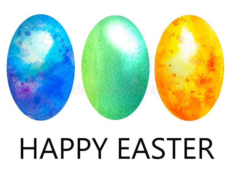Happy Easter. Set of three colorful marble eggs in green, blue and yellow in spots similar to colored stones stock illustration