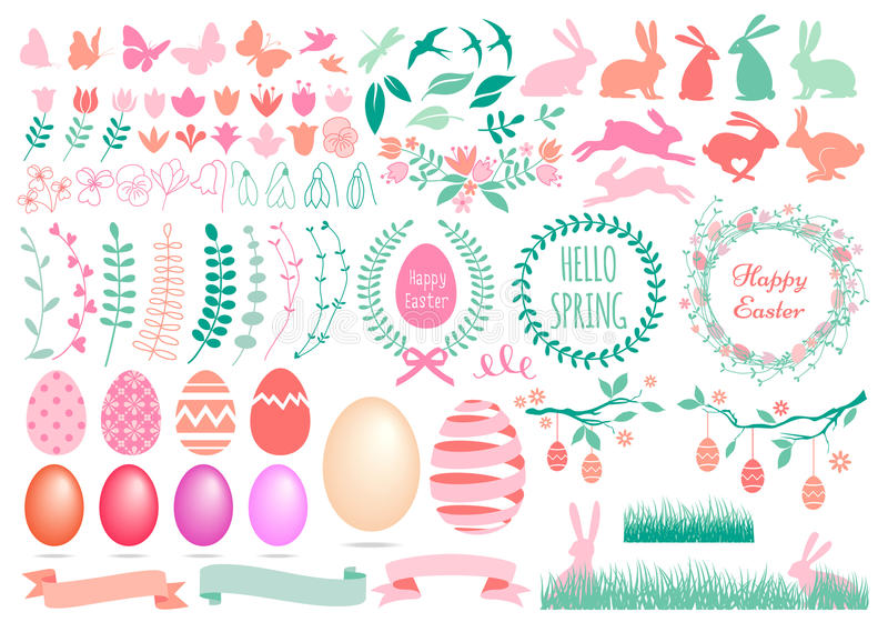 Happy Easter set, vector royalty free illustration