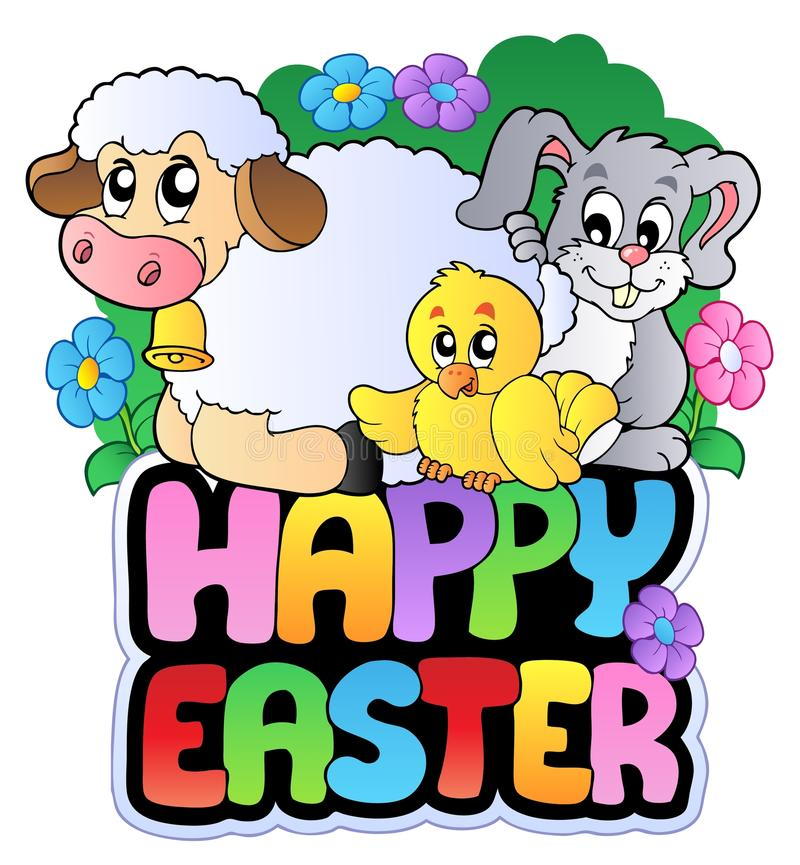 Happy Easter sign with animals stock illustration