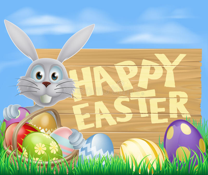 Happy Easter sign. With Easter bunny rabbit. Chocolate painted eggs and basket in the foreground vector illustration