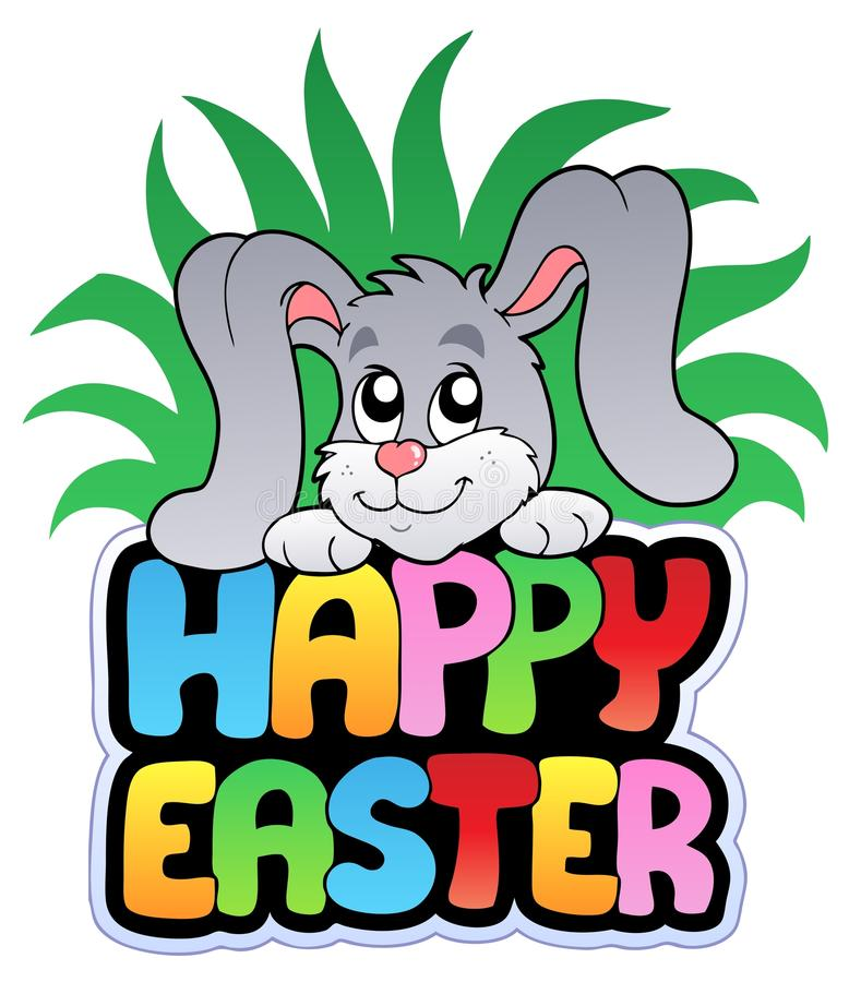 Download Happy Easter Sign With Cute Bunny Stock Vector - Image: 18270485