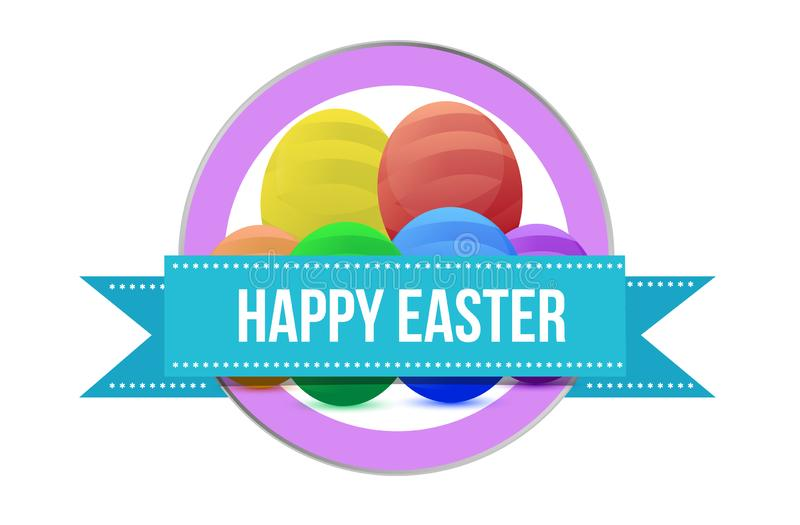 Happy, Easter sign seal illustration isolated stock illustration