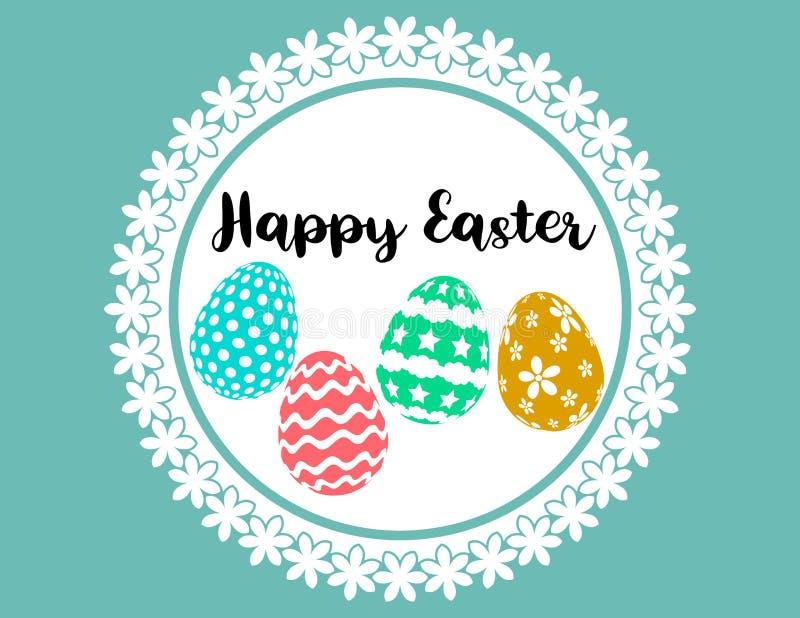 Happy easter silhouette paint eggs creative design stock illustration
