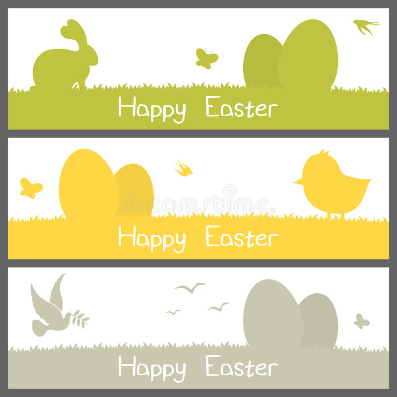 Happy Easter Silhouettes Banners Set Stock Vector