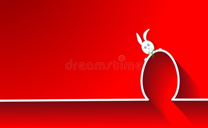 Happy Easter Skyline Rabbit and Egg, flat design, outline drawing Easter Bunny greeting card, isolated or red background.  royalty free illustration