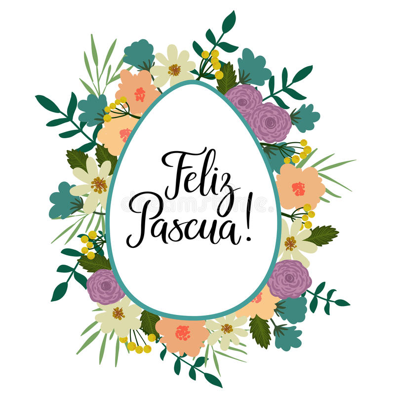 Happy easter in spanish modern calligraphy greeting card