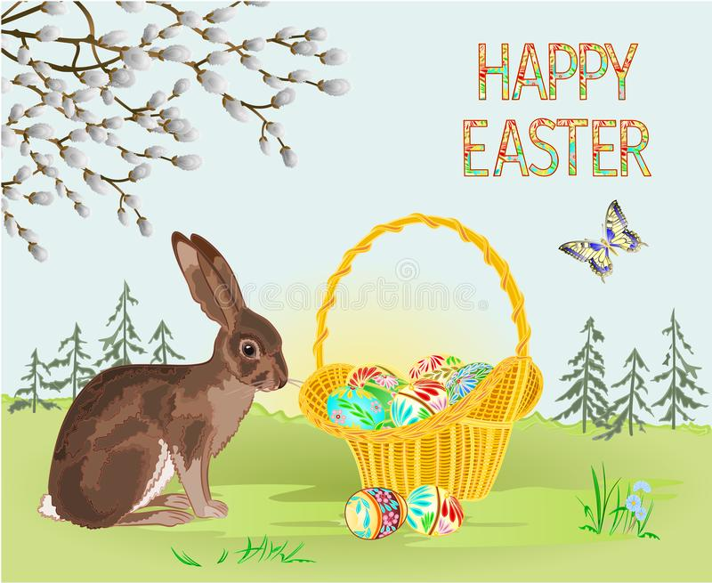 Happy easter spring landscape forest Easter wicker and easter eggs and hare and butterfly in the grass with flowers vintage vect. Or illustration editable hand vector illustration