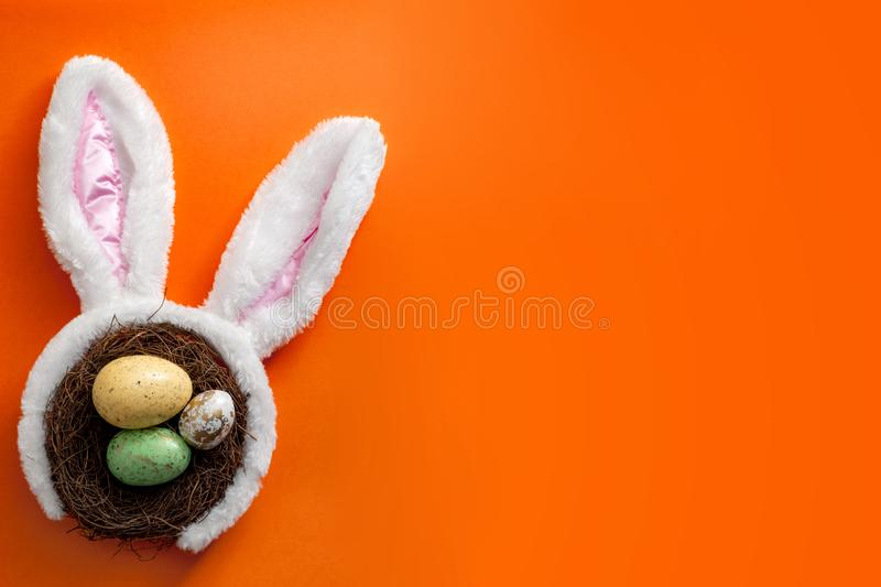 Happy easter and spring meme concept with adorable bunny ears on a bird nest with colorful eggs against a orange background with stock images
