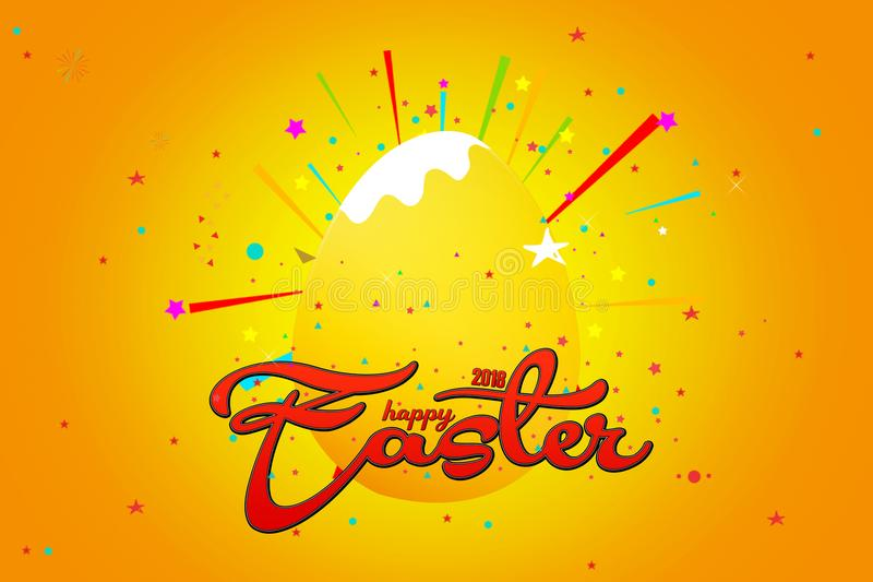 Happy Easter with stars, yellow background with colorful star.  royalty free illustration