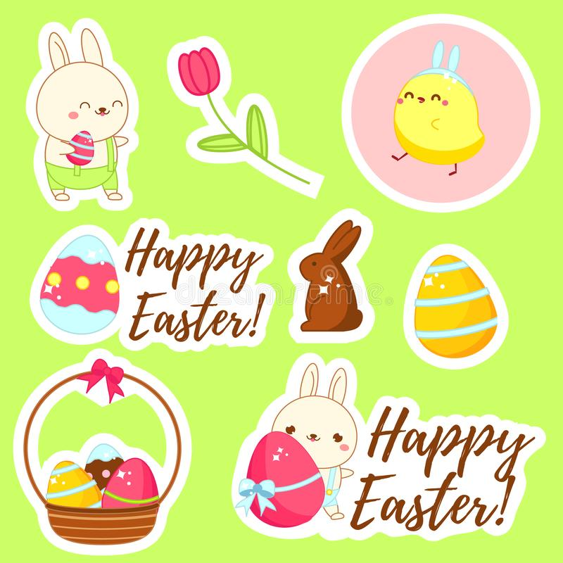 Happy Easter stickers. Set of Cute kawaii characters chicken and bunny vector illustration