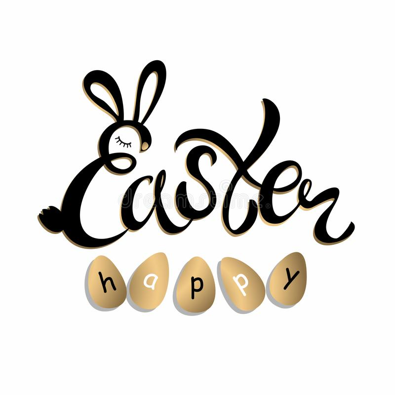 Happy Easter stylish lettering. Holiday card. Vector illustration.  royalty free illustration