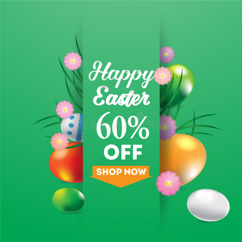 Happy Easter super sale banner, background, template with beautiful colorful spring flowers and eggs. vector illustration