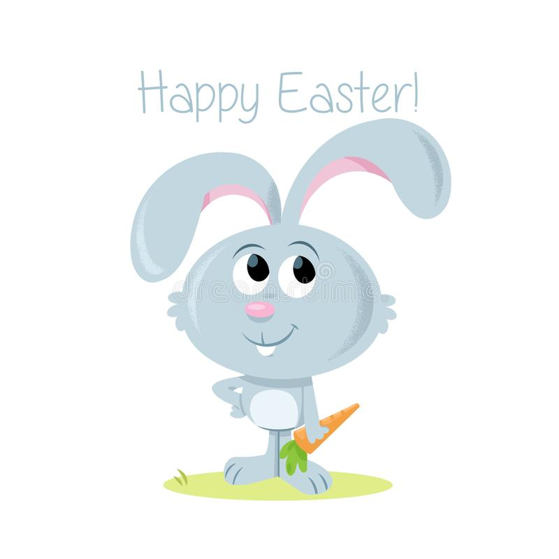 Happy Easter! - Sweet little Easter bunny and carrot royalty free illustration
