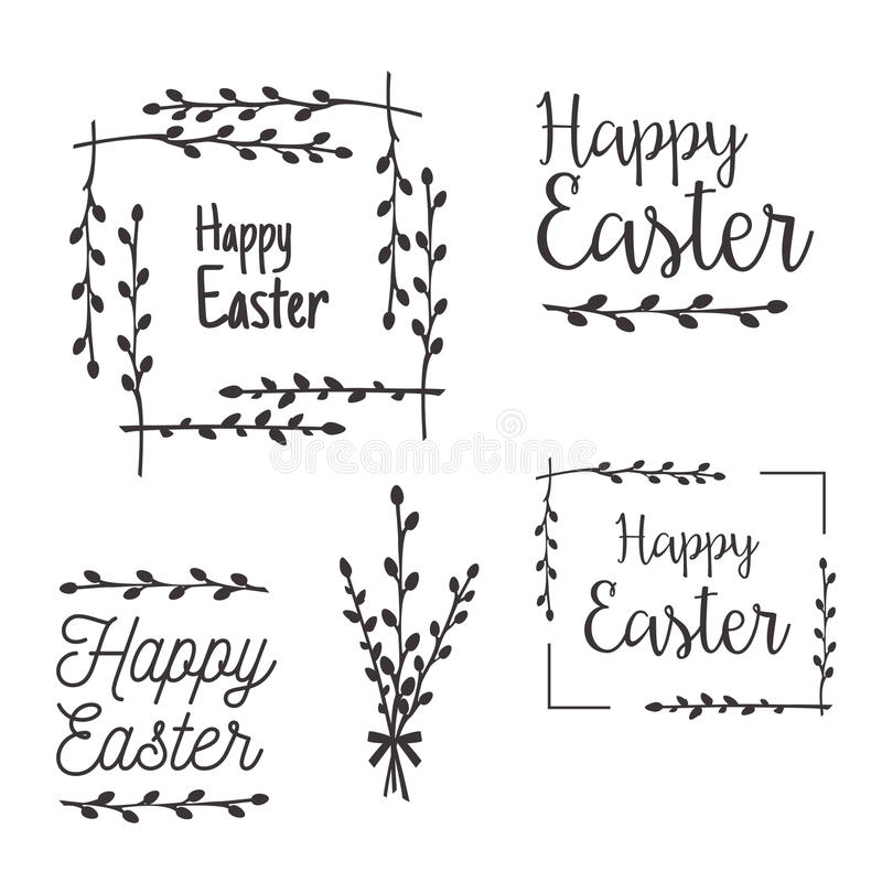 Happy Easter Templates, Labels, Borders Stock Vector - Illustration ...