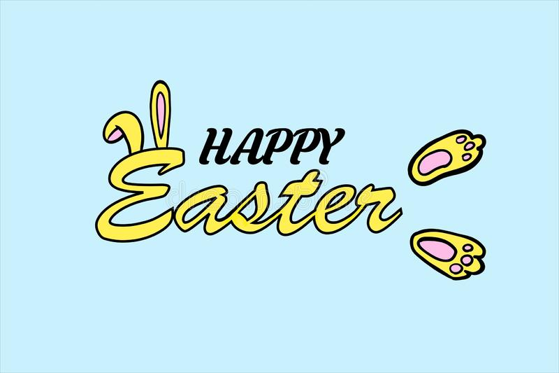 Happy easter text with bunny ears and feet stock images