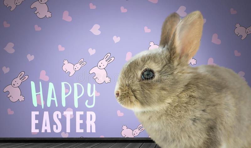 Happy Easter text with Easter Rabbit against wall with rabbit pattern vector illustration