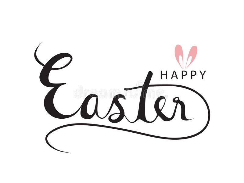 Happy Easter Text Typography with Pink Ears Rabbit Vector illustration royalty free illustration