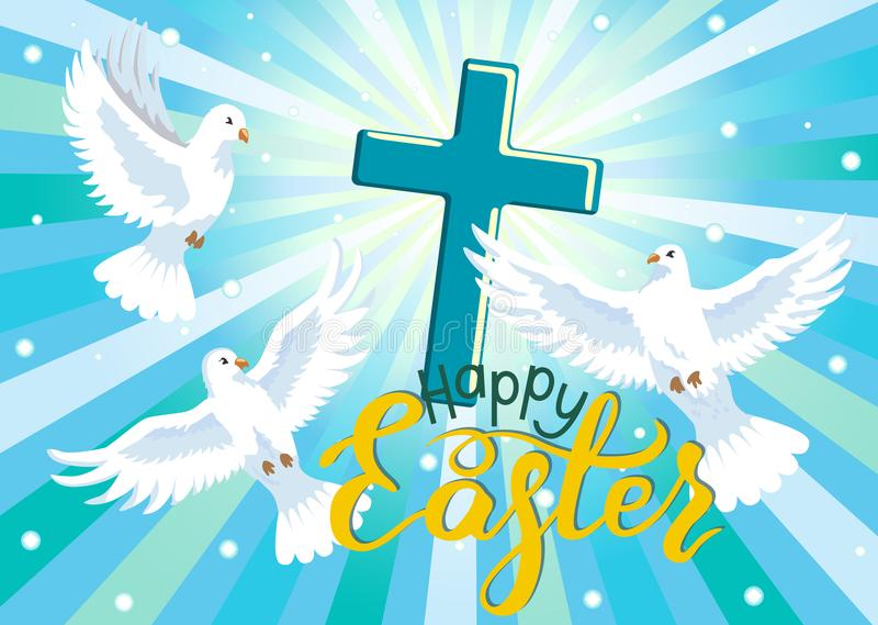 Happy Easter. Three doves and cross in blue sky. vector illustration