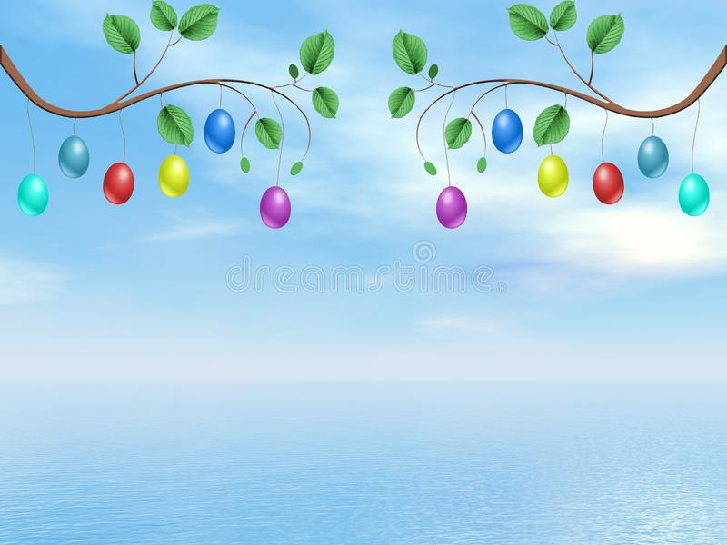 Happy Easter tree branches with colorful eggs - 3D render royalty free illustration