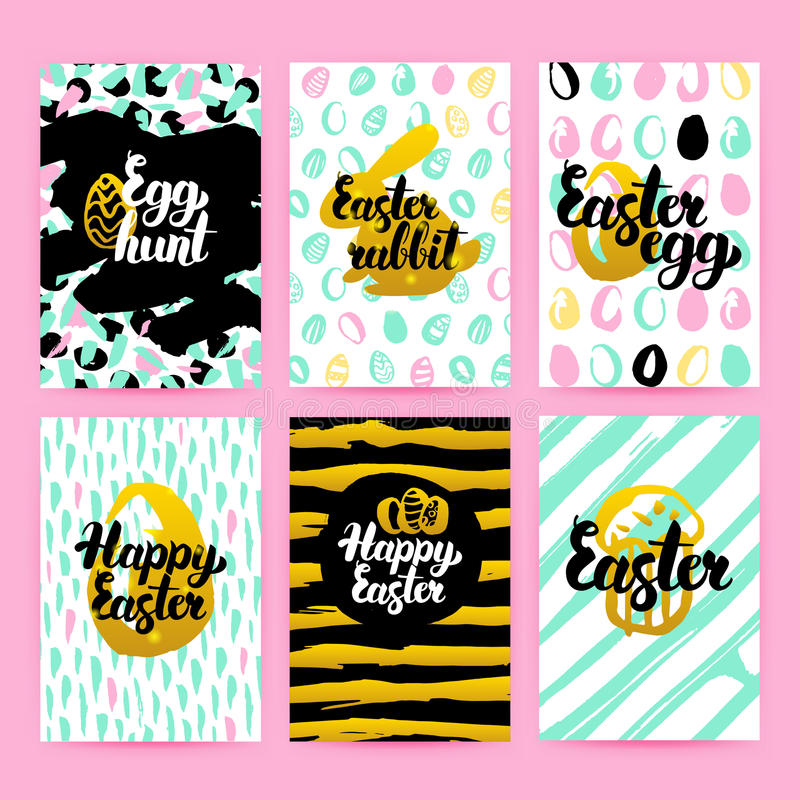 Happy Easter Trendy Hipster Posters vector illustration