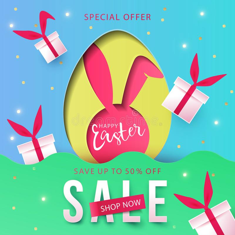 Happy Easter trendy Paper art Sale background with Egg Hunt, rabbit ears and gift boxes. stock illustration