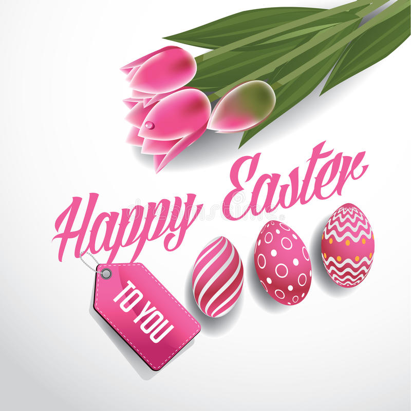 Happy Easter tulips and eggs design EPS 10 vector royalty free illustration