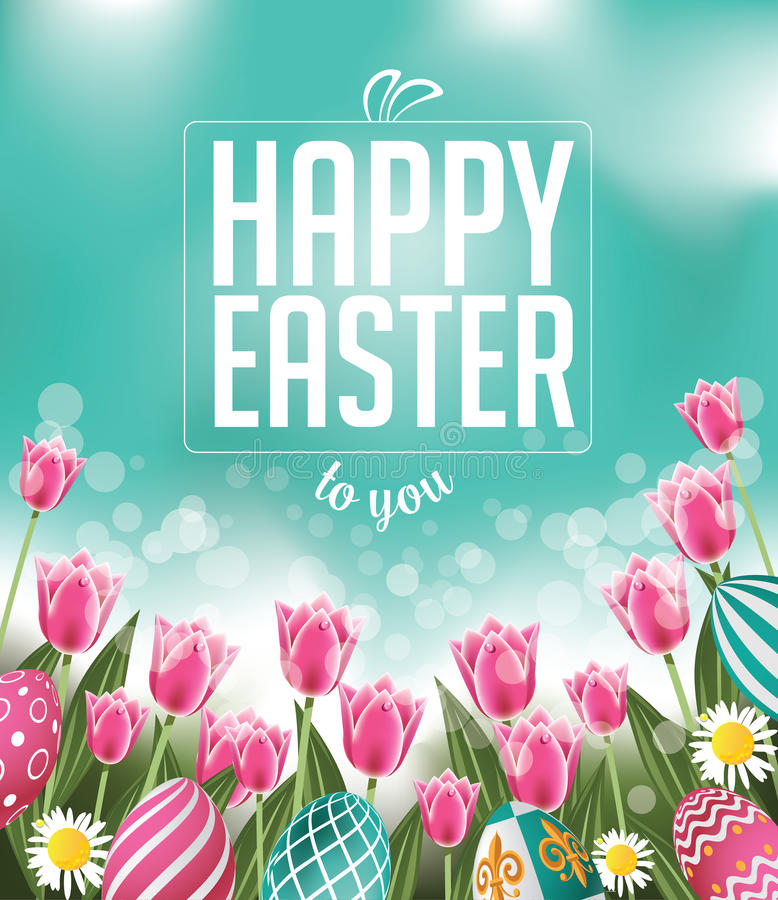 Happy Easter tulips eggs and text. EPS 10 vector royalty free stock illustration for greeting card, ad, promotion, poster, flier, blog, article, social media royalty free illustration