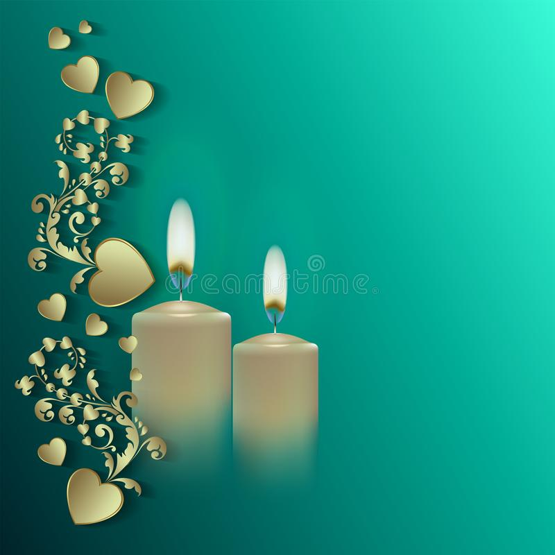 Happy easter, pattern with candles, greeting card royalty free illustration