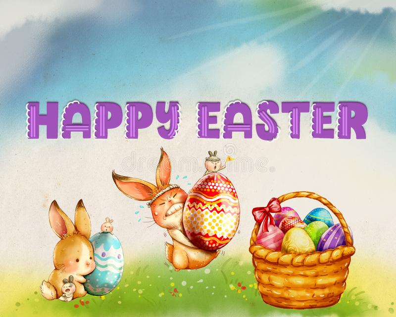 Happy Easter Bunny Egg Scene vector illustration
